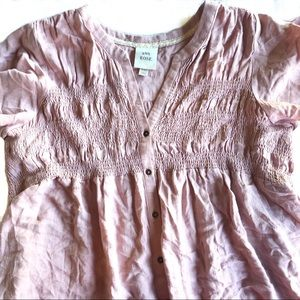 Knox Rose dusty pink smocked button peasant top